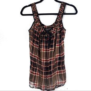 Etcetera Black & Brown 100% Silk Sheer Blouse